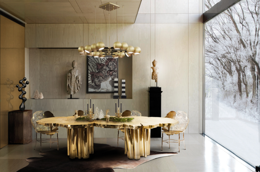 Golden Dining Tables For A Magical Christmas Eve