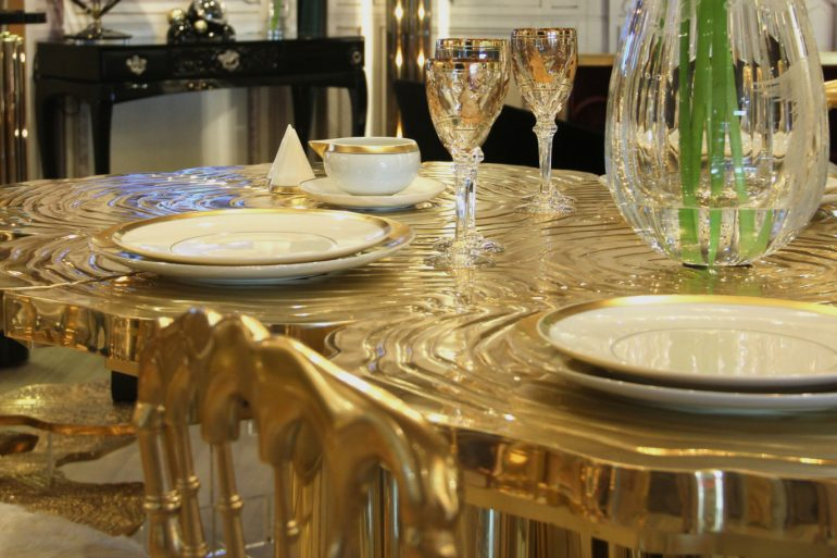 Gold dining table, Modern Dining Tables, Modern Dining Room, Home Design, Contemporary design, Interior Design, Boca do Lobo, Christmas