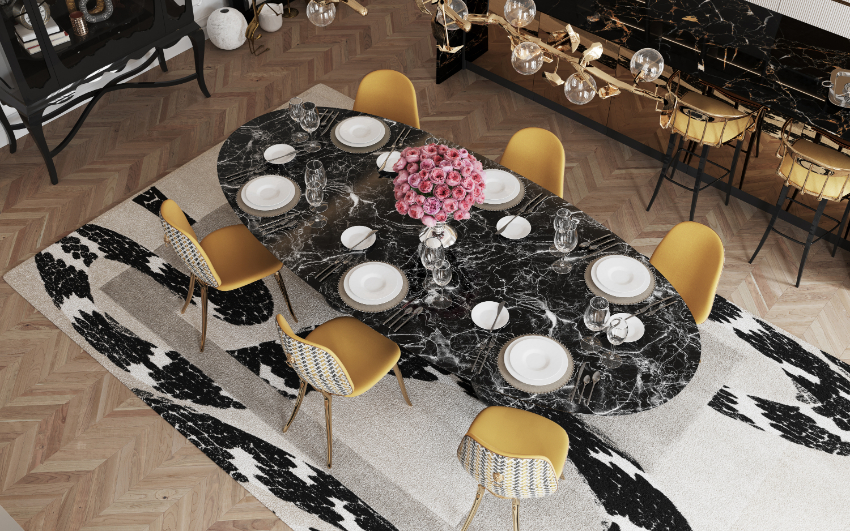 Discover 6 Ways to Upgrade Your Modern Dining Room modern dining room Revamp Your Modern Dining Room With These Design Ideas! bl dark marble luxury dining table 1